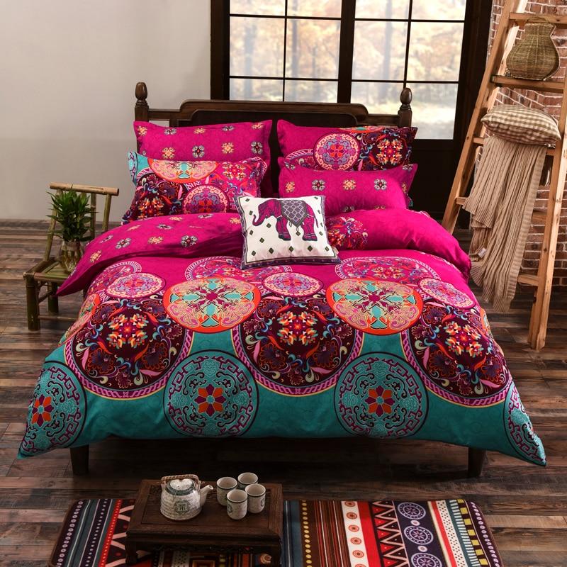 4 pcs/ensemble Bohème Oriental Mandala beding ensemble eid draps taie d'oreiller drap de lit Couette Housse de Couette Ensemble de literie Drap Plat ensemble