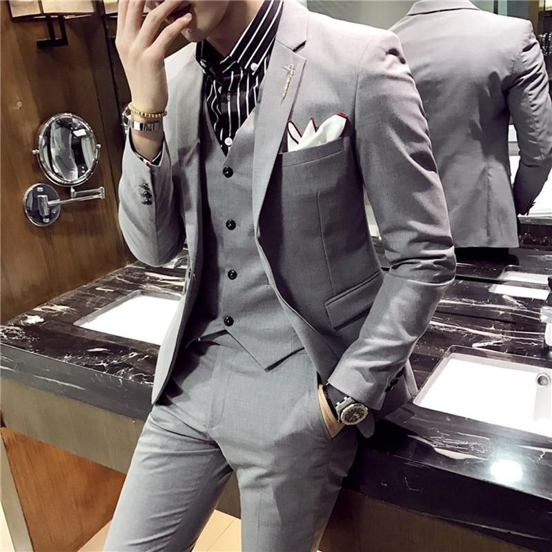 Men Blazers And Pants / High Grade Brand Fashion Pure Color Mens Slim Formal Business Suit Groom's Best Men Wedding Dress Suits
