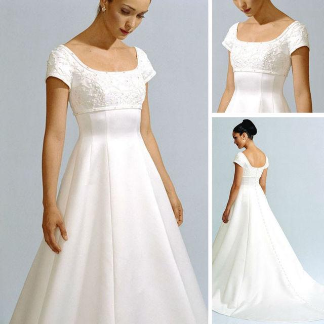92ded3f430141 WM031 2012 Short Sleeve Modest Designer Pregnant Women Wedding Dress ...