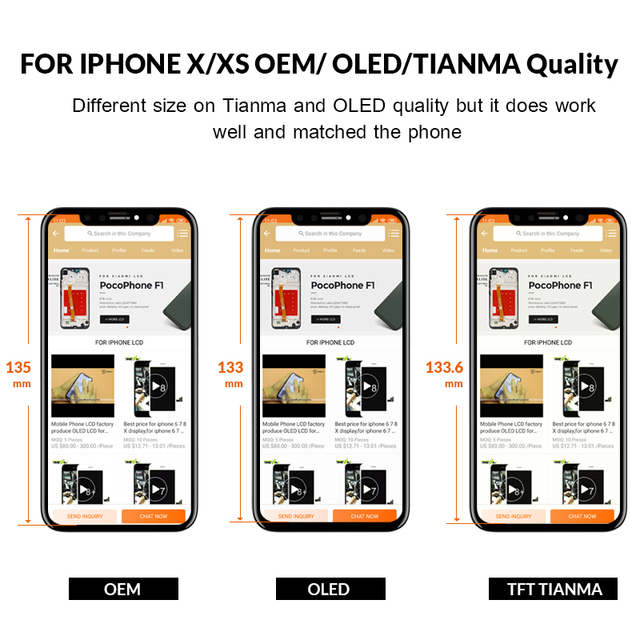3pcs For iPhone X LCD Display For Tianma OLED OEM LCD Replacement Touch Screen With Digitizer Assembly Black