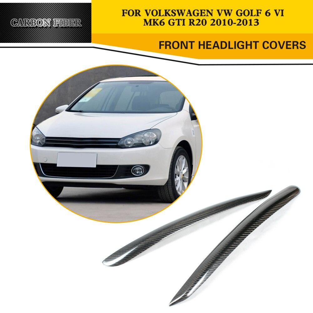Car Styling Carbon Fiber Front Eyelids Eyebrows For Volkswagen VW Golf 6 VI MK6 GTI R20 2010 2013 carbon fiber car styling mk6 gti - title=