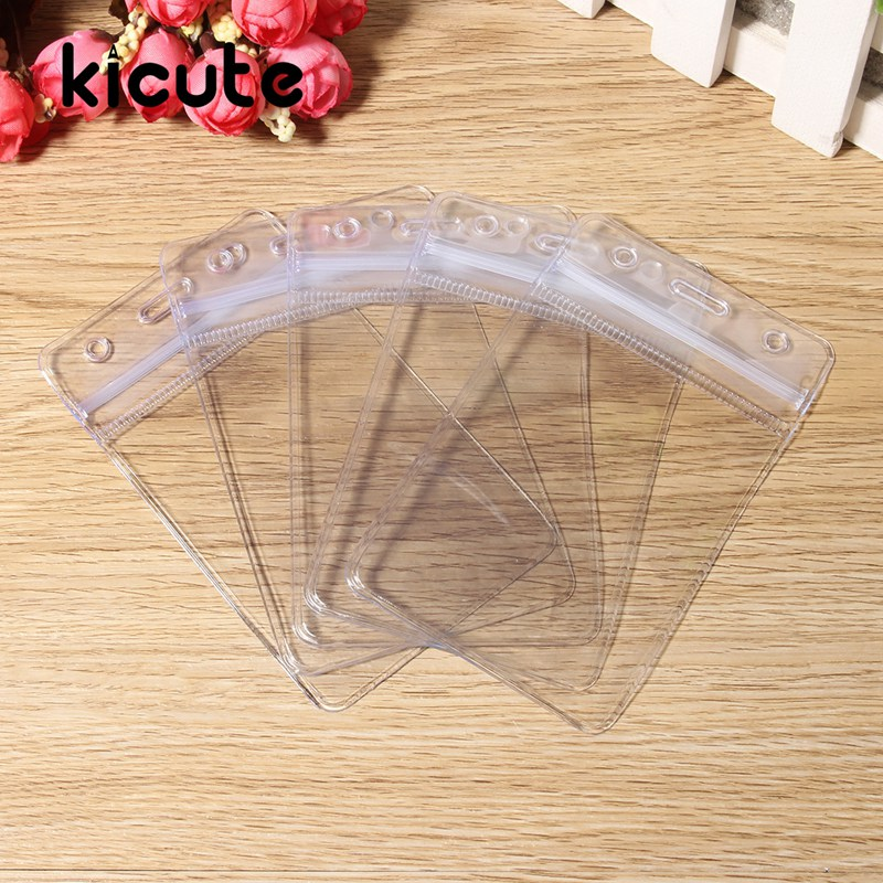 Kicute 10Pcs Vertical Waterproof Transparent Vinyl Plastic Clear Wallet ID Card Badge Holder With Zipper School Office Supply ...