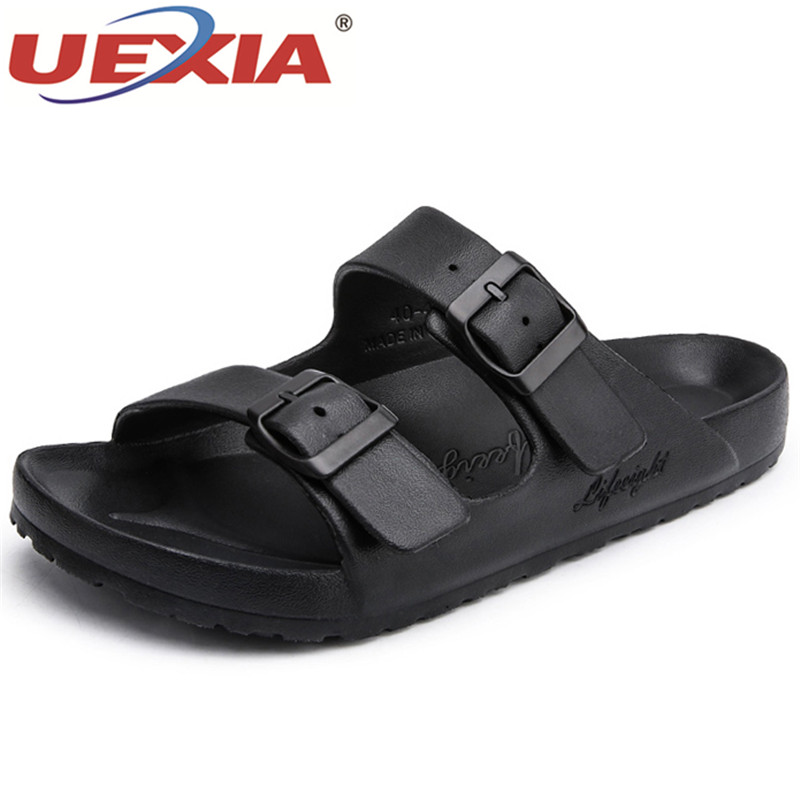 UEXIA Men Shoes Unisex Summer Hollow Slippers Fashion Outdoor Breathable Casual Couple Beach Sandal Flip Flops Shoes Men Slipper new unisex new fashion men shoes summer slippers beach men slippers women casual slippers lovers three stripe outdoor slipper