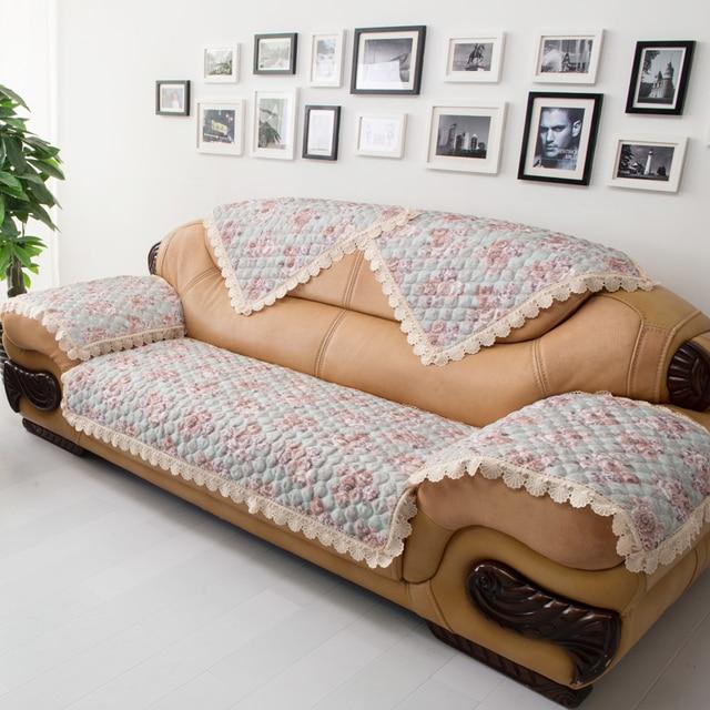 Fashion Linen Sofa Cushion Cloth Four Seasons Genuine Leather Cover Quality Rustic Towel
