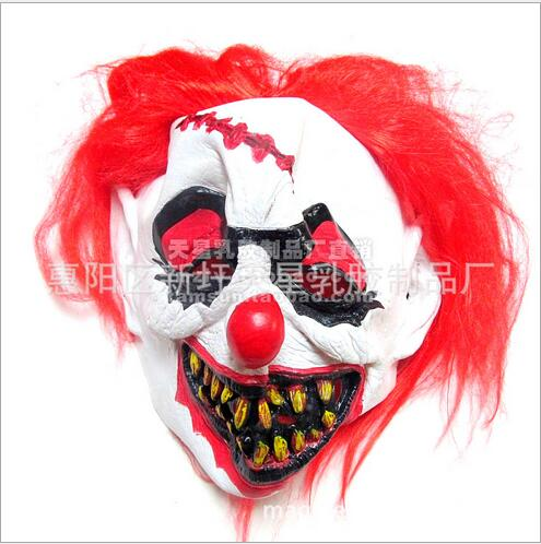 free shipping halloween party cosplay funny scary clown mask joker face mask halloween horror party cosplay fun mask red hair in party masks from home