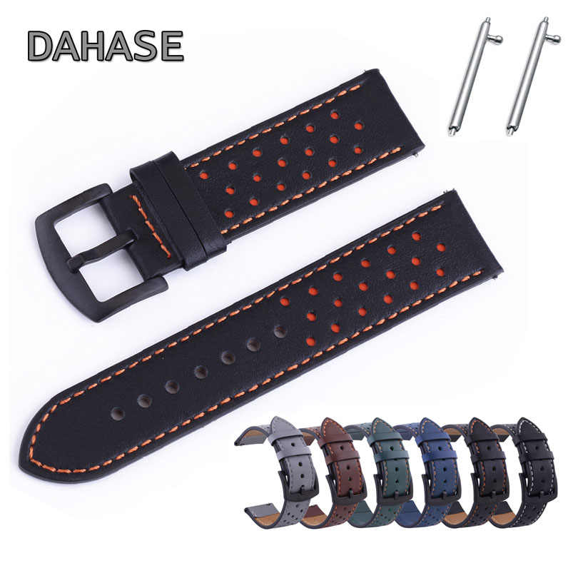 Genuine Leather Watch Band 18 Mm 20 Mm 22 Mm 24 Mm Tali untuk Samsung Huawei Amazfit Plum Lubang pengganti Tali Kulit W Pin