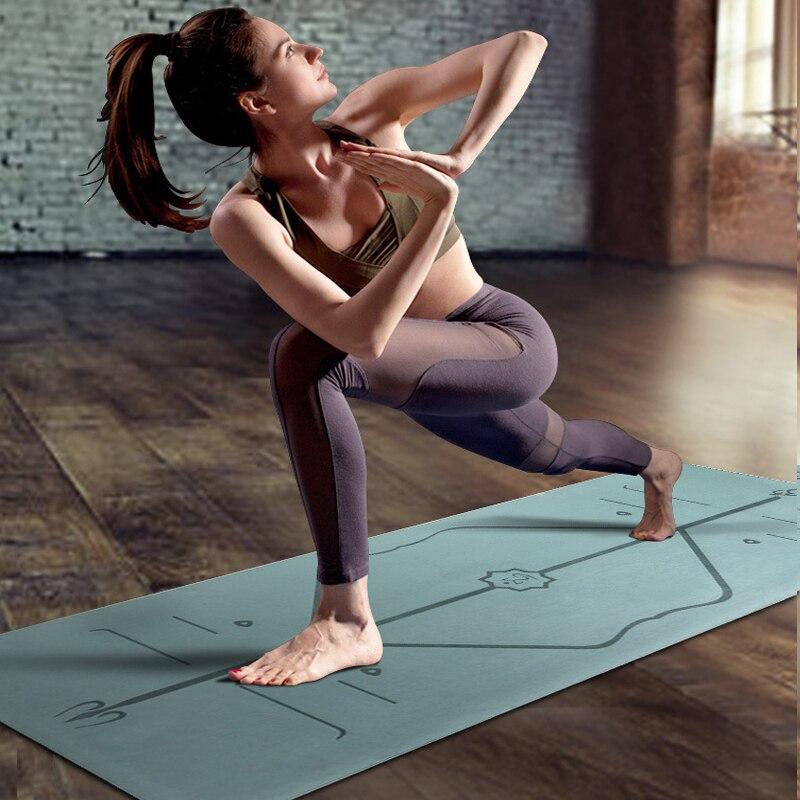 Tapis de Yoga de TPE d'épaisseur de 6mm avec la ligne de Position 183*61cm tapis antidérapant pour les exercices de débutant
