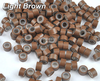 1000pcs Light Brown Color 50 30 30mm Micro Silicone Ring Bead For Hair Extension Alicate Alargador