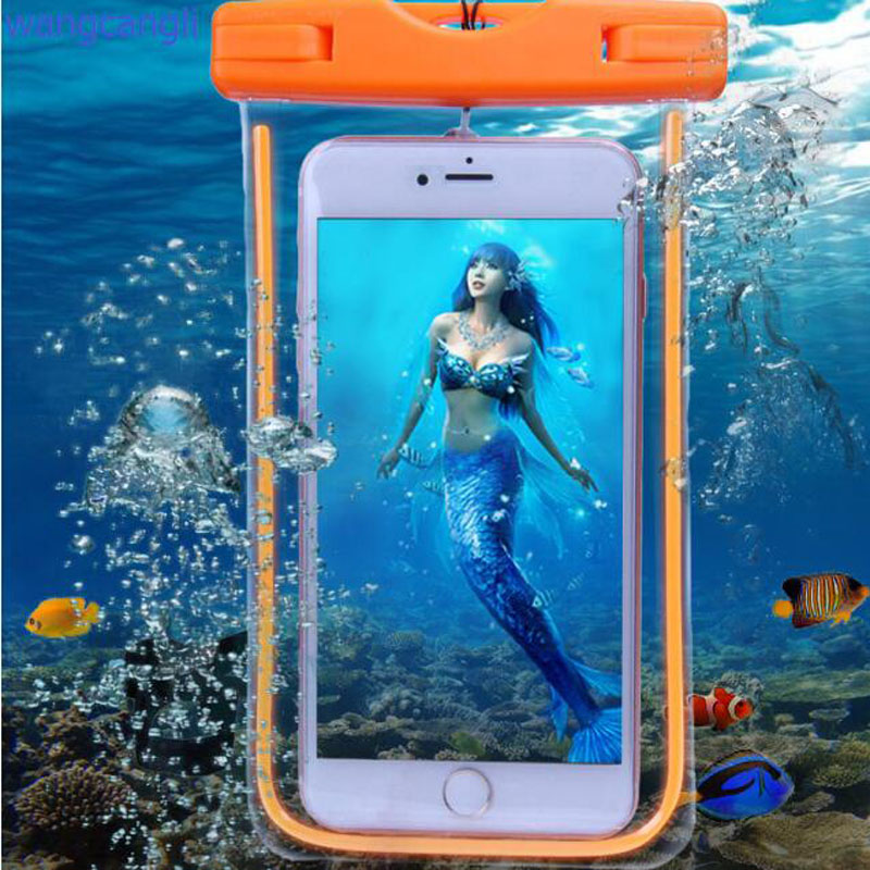 Wangcangli vízálló tok Samsung telefon víz alatti fény dobozához. GALAXY MEGJEGYZÉS 5 4 3 2 A5 A7 J5 J7 hátsó borító iPhone 6S 6sp