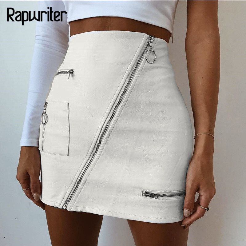 Rapwriter Fashion Solid Ring Zipper Pencil PU Skirts Women 2018 New Casual High Waist Pocket Leather Mini Skirt Sexy Saias Falda