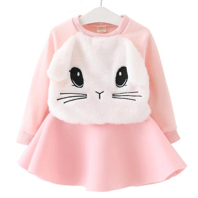 Winter Girls Dress 2016 Brand Princess Dresses Girls Clothes Long Sleeve Cartoon Embroidery Design for Party Dress