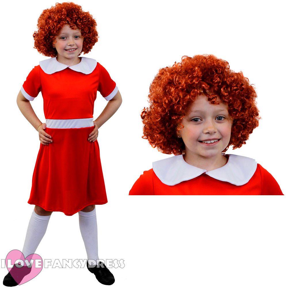 CHILD KIDS LITTLE ORPHAN GIRL ANNIE COSTUME PLUS WIG SCHOOL BOOK WEEK FANCY DRESS FILM CHARACTER I LOVE FANCY DRESS PARTY COSPLA