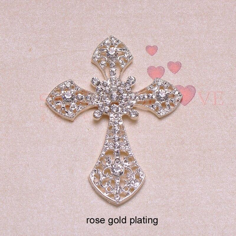 (J0623) 54mm x 7mm rhinestone metalowy przycisk, srebra lub złota poszycia, płaskie z powrotem, krzyż kształt w Guziki od Dom i ogród na  Grupa 3