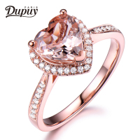 DUPUY 2018 VS 8mm Heart Cut Morganite Ring Floral Halo Diamond Gemstone Ring Stackable Ring Vintage Ring Jewelry F0073MO