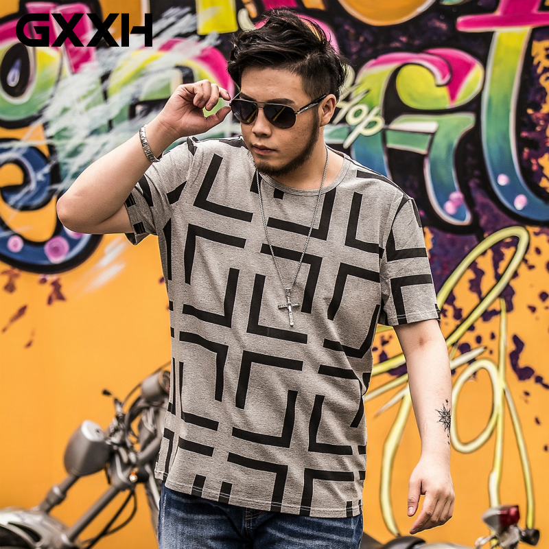 GXXH Summer Short Sleeve Oversized Men T Shirt Printed Loose Fashion Casual T Shirt Men Tops Tee Plus Size XXL-7xl Male T Shirt