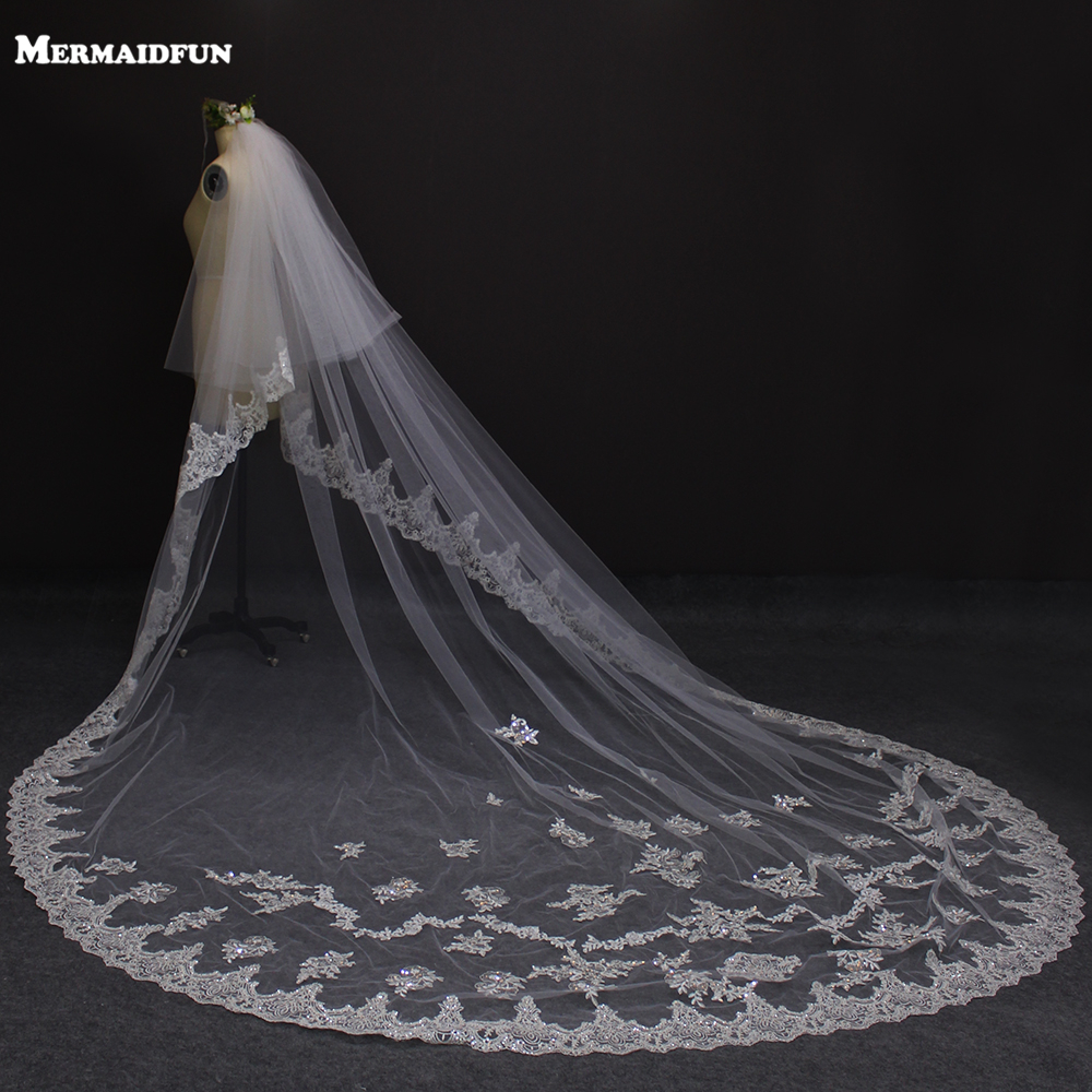 3 Meters Two Layers Lace Edge Long Wedding Veil with Sequined Appliques 2 Tiers Bridal Veil