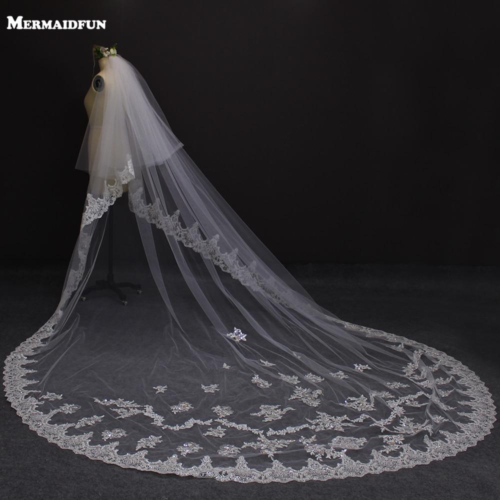 3 meter två lager kantkant lång brudslinga med sömmade - Bröllopstillbehör - Foto 1