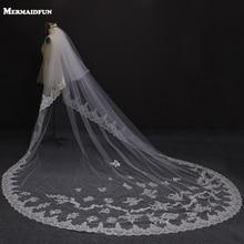 3 meter to lag kant kant lang bryllup slør med sekket applikationer 2 tier brude sløret velos de novia