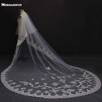 3 Meters Two Layers Lace Edge Long Wedding Veil with Sequined Appliques 2 Tiers Bridal Veil Velos de Novia - DISCOUNT ITEM  30% OFF All Category