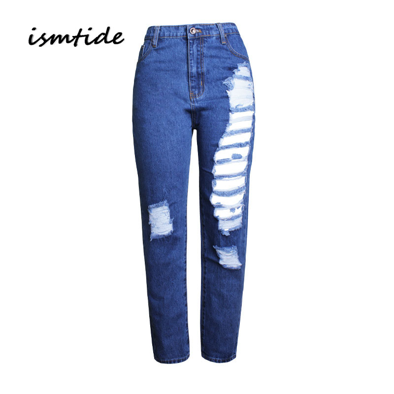 Boyfriend Hole Ripped Jeans Women Pants Cool denim Vintage Straight Jeans Hole Ripped Jeans High Waist Casual Pants Female new 2017 boyfriend hole ripped jeans women pants cool denim vintage skinny pencil jeans high waist casual pants female p45