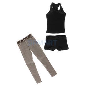 Image 3 - 1/6 skala męska czarna kamizelka dżinsy pas bieliźniany zestaw dla 12 mężczyzna figurka ciała