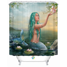 Hot New 3D Mermaid Printing Shower Curtain 100% Polyester Waterproof Mould Proof Bath Curtain Door Curtain 180x200cm Home Decor