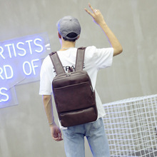 Mens Bag Korean Chao Xue PU Leather Shoulder Leisure Simple Computer Travel Backpack Small Women  Bookbag