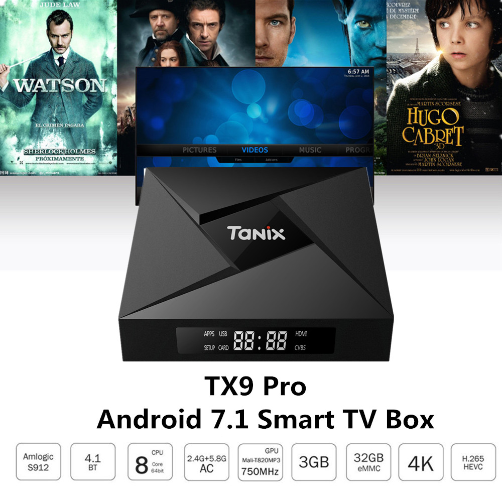Tanix TX9 Pro TV Box Amlogic S912 Octa-core Set-top TV Box CPU Android 7.1 3GB 32G OS Bluetooth 4.1 1000M LAN Smart TV Box 10pcs vontar x92 3gb 32gb android 7 1 smart tv box amlogic s912 octa core cpu 2 4g 5g 4k h 265 set top box smart tv box