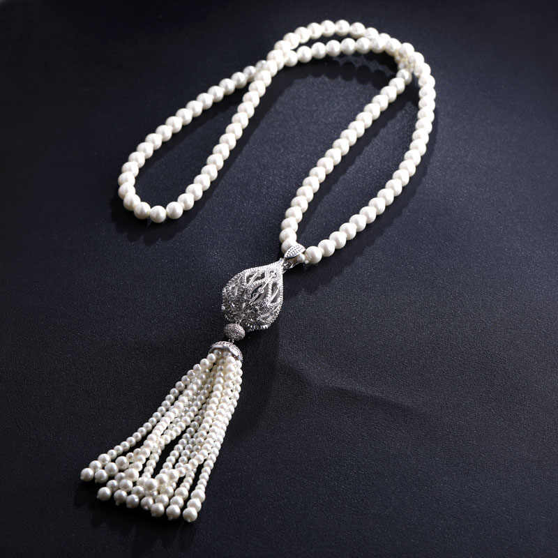 jankelly exquisite jewelry AAA cubic zircon simulated pearl pendant long sweater necklaces set african beads jewelry sets