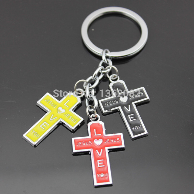 Classic Design Men Women s Jesus Love You Cross Couple Key Chains Bag  Pendants Keyrings Lucky Gift MO184 ff9d5326e5