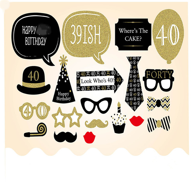 20 Pieces 40th Happy Birthday Party Decorations Supplies Photo Booth Props 40 Years Man Woman Funny