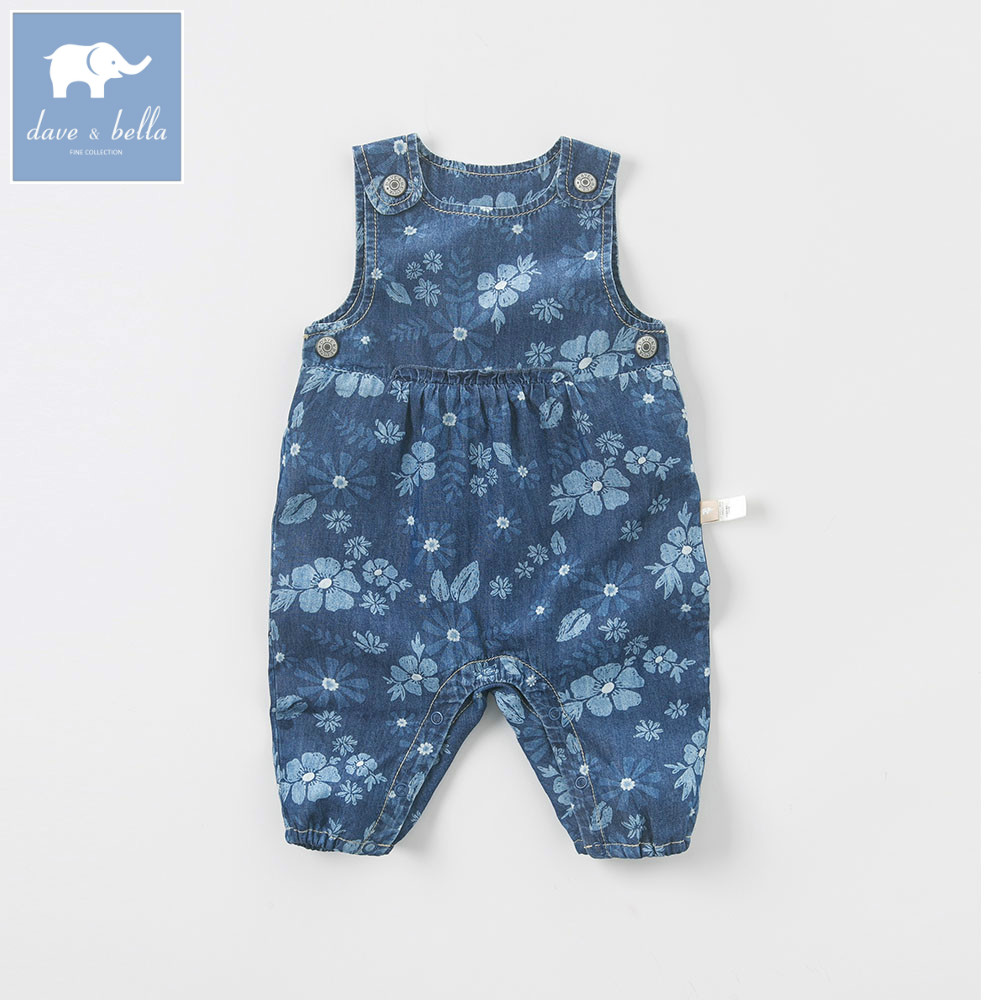 DB5761 dave bella autumn newborn baby girls infant romper one-piece printed  cute suits children clothes puseky 2017 infant romper baby boys girls jumpsuit newborn bebe clothing hooded toddler baby clothes cute panda romper costumes