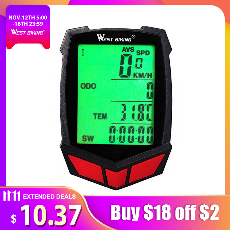 WEST BIKING Wireless Bike Computer 20 Functions Speedometer Odometer Cycling Wired Wireless+ MTB Bike Stopwatch Bicycle Computer cateye bicycle computer wired bike speedometer with cadence sensor mtb rode bike stopwatch computer speedometer for bicycle