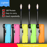360 Degree Rotate Fold BBQ Lighter Gas Stove Lighter Easy To Carry Used Repeatedly Kitchen Gas Cooker Hit Musket Lighters