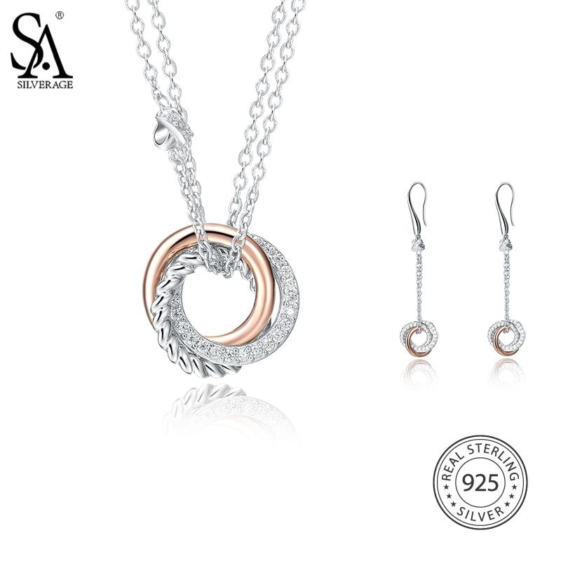все цены на SA SILVERAGE 925 Sterling Silver Jewelry Sets AAA Zirconia Necklaces Pendants Drop Dangle Earrings for Women Fine Jewelry онлайн