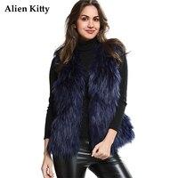Alien Kitty 2017 Winter Sleeveless Faux Fur Coats Wide Waist Open Stitch Women's Vest Fashion Slim Natural Color Colete De Pele