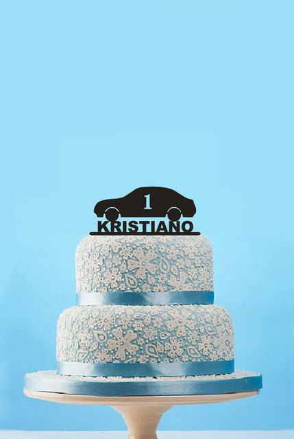 Custom Name Baby Birthday Cake Topper Baby Shower Car Design Cake