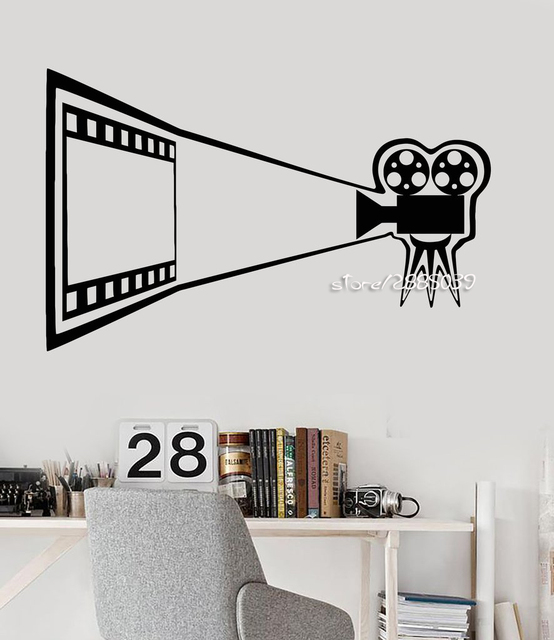 cinema movie vinyl wall decals camera theater decor film room wall