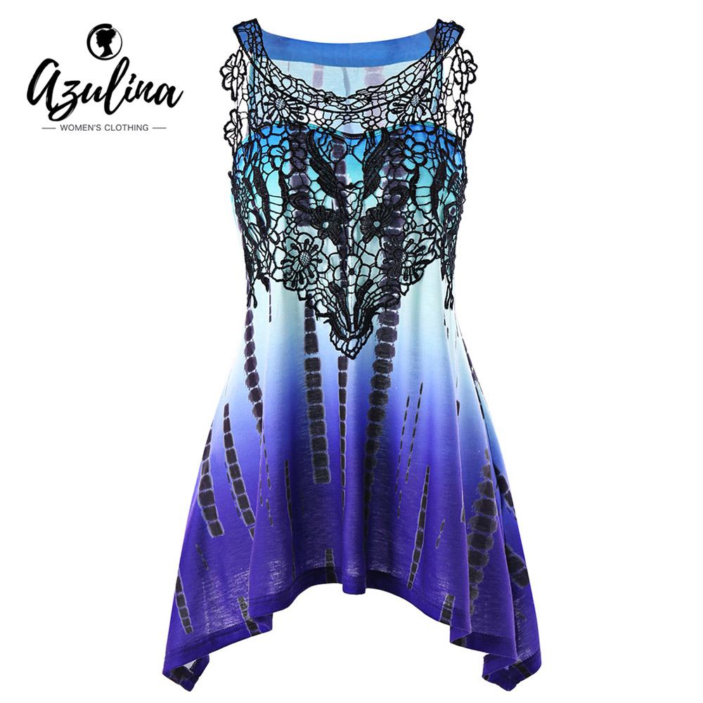 AZULINA Plus Size Tie Dye Lace Panel Tank Top Chic Lace Trim Asymmetric Women Tops Tees 2018 Summer Big Size 5XL Ladies Clothes