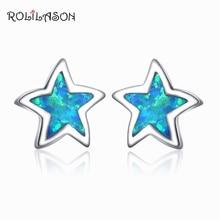 ROLILASON высокое качество звезды дизайн синий огненный опал серебряные штампованные для женщин серьги гвоздики модные ювелирные изделия OE752