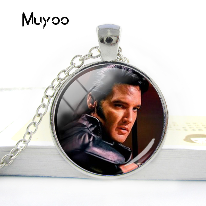 2018 New Fashion Elvis Presley Harajuku Jewelry Glass Cabochon Necklace 4 Color Chain Necklaces Handmade Elvis Presley Gift
