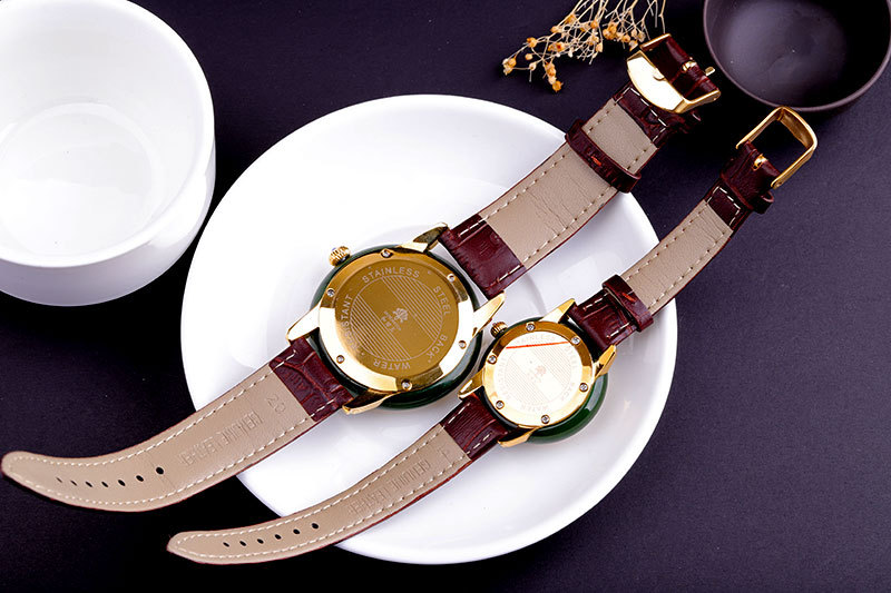Montres Antique en argent de jade classique bracelet en cuir