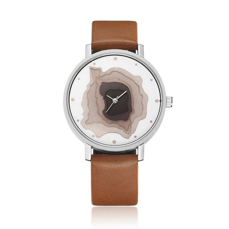 Fashion Exquisite Quartz Wrist Watches Creative Mineral Stylish Watch Ladies Women Leather Strap saat relogio feminino