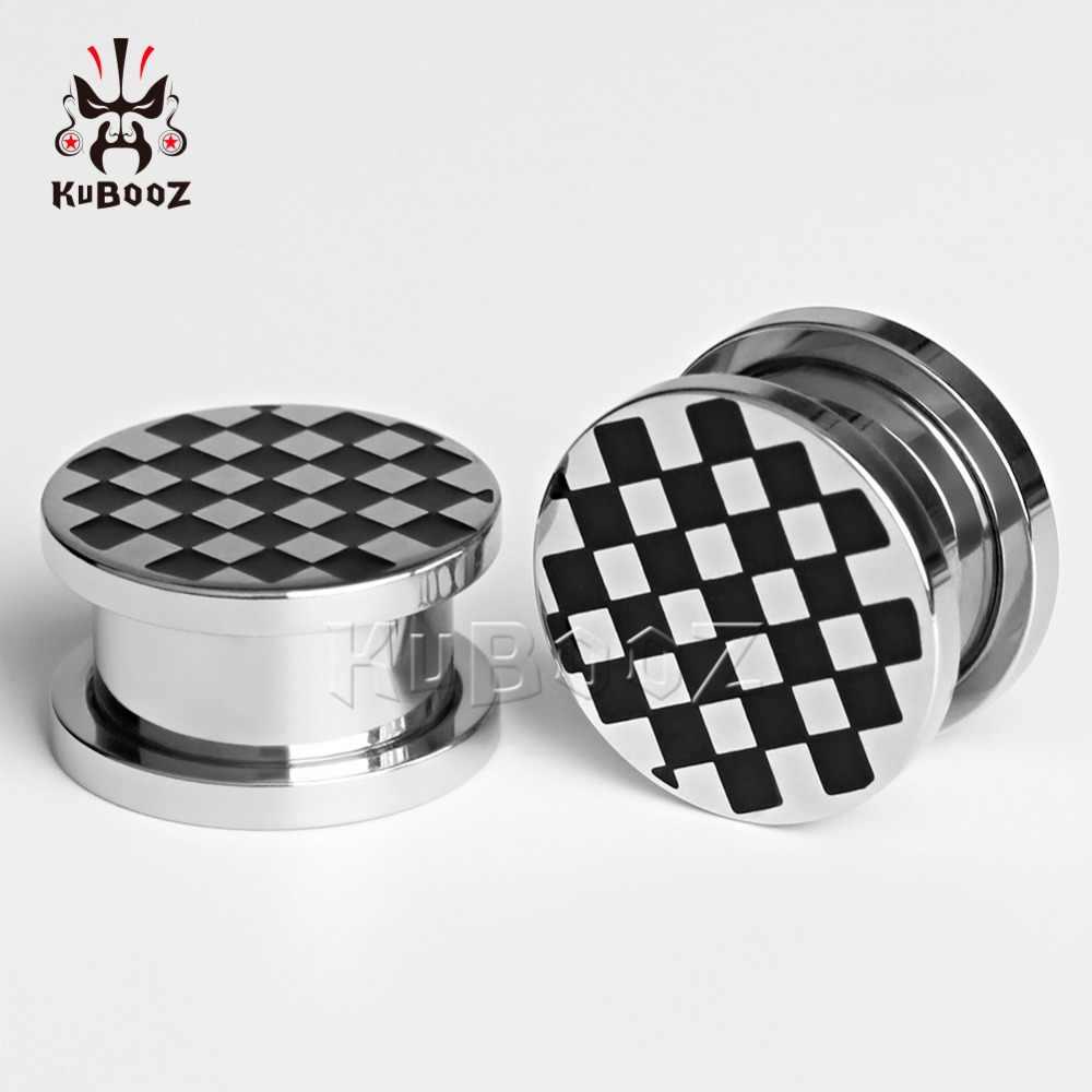 Kubooz sólido de aço inoxidável checkered orelha plugues piercing túneis corpo jóias expansor par venda calibres