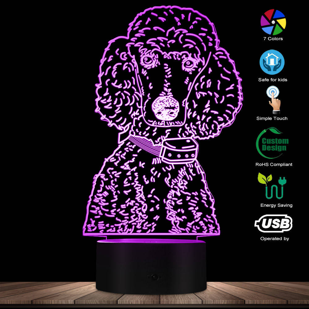Poodle Dog Breed Night Lamp Dog Pet Owner Decorative Room Lighting Poodle Lover 3D Table Lamp USB Night Light Dog LED Lighting