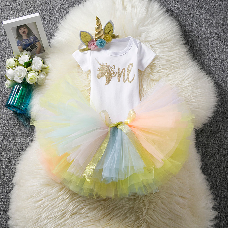 Fancy Gold Unicorn Dresses For 1 Year Baby Birthday Newborn Baby Summer Tutu Clothes Infant Christening Gown Bebes Party Costume