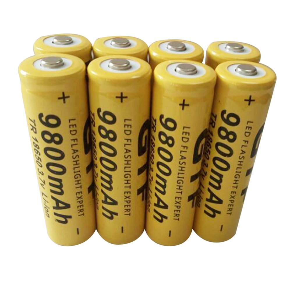 8 Pcs Universal 18650 3.7V 9800 MAh Rechargeable Li-ion Batteries Tip Main Batery Cell For LED Flashlight Torch Camera