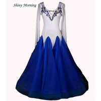 Ballroom Dress Blue Standard Ballroom Dress Customized Ballroom Dresses China Size S,M,L,Xl,XXL Ballroom Dance Waltz Dresses
