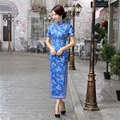 Shanghai Story New Arrival Charming Sexy Long Qipao Vintage Chinese Tradition Women's Silk Long Cheongsam Dress Blue Woman Dress