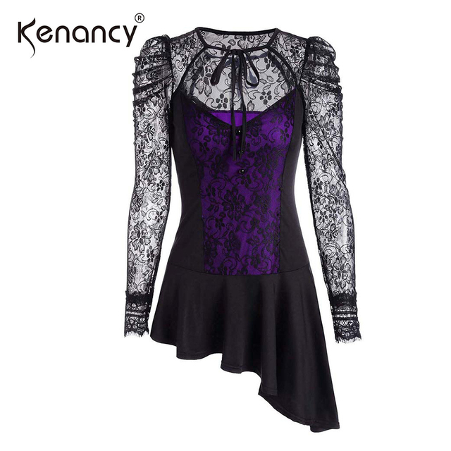 bdb1c8438ff842 Kenancy Women Lace Blouse Round Neck Long Sleeve High And Low Casual Work  Blouse